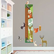 Personalised Woodland Animals Cute Height Growth Chart + 8 Vinyl Wall Stickers