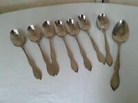 Oneida Ltd Twilight Stainless Flatware 7 Oval Soup & 1 Serving Spoons Rogers