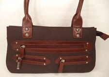MARTA PONTI BROWN SHOULDER BAG HANDBAG LEATHER TRIM DOUBLE STRAPS