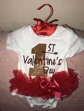 """NWT 6-9 MO OUTFIT 1ST """"FIRST"""" VALENTINES DAY Red Ruffle Skirt W Satin Hanger"""