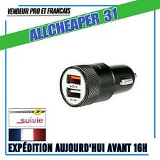 CHARGEUR ALLUME CIGARE CHARGE RAPIDE 3A /2,4A DOUBLE PORTS FONATECH