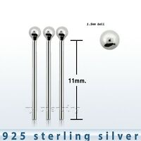 3pcs. 22g (11mm Length) -1.5mm ball .925 Sterling Silver Straight Nose Stud
