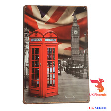 London The Big Ben Red Phone Box Metal Sign Tin Plate 20x30 cm GREAT DECOR GIFT