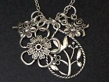 """Flowers Tulips Roses Pansy Daisy Charm Tibetan Silver 18"""" Necklace"""
