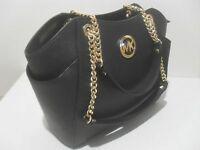 NWT Michael Kors Black Saffiano Leather Jet Set Travel Chain Shoulder Tote Bag