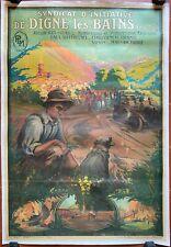 Affiche Tourisme DIGNE-LES-BAINS Mariaud PLM Automobile ALPES 74x106cm 1920