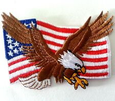 USA FLAG EAGLE MOTORCYCLES BIKER Embroidered Iron on Patch Free Shipping