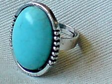 SILVER TONE & TURQUOISE RESIN ADJUSTABLE 3cm.x 2.cm. STATEMENT RING £5.95 NWT