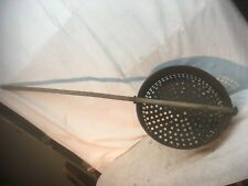 Primitive Farm House Cottage  Kettle wash tub Strainer with wood handle