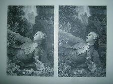Planche gravure  Les hazards heureux de l'escarpolette Fragonard