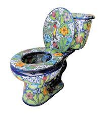 Mexican Talavera Toilet Seat Handcrafted Colibri