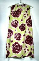 Simply Vera Wang Floral Women's Green Sleeveless Dress Size 6 Red Roses