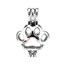 5pcs/lot Silver  Cat Dog Paw Locket Pendant Pearl Beads Cage Charm K445