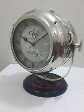 Vintage Chrome Table Clock Campbell &Co. Marine Desk & Home Decor