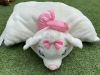 Disney Soft Cushion Pillow Pet Fold Up Aristocats Marie Cat White With Pink Bow