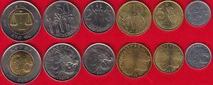 Ethiopia set of 6 coins: 1 santeem - 1 birr UNC