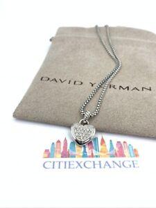 "DAVID YURMAN Pavé Diamonds Heart Pendant Necklace 17"" Baby Box LOVE"