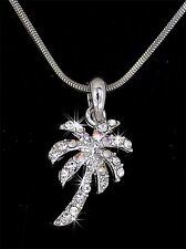 Palm Tree Austrian Crystal Silver Charm Pendant Chain Necklace New