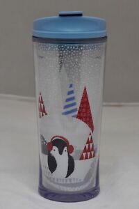 Starbucks Holiday Penguin Winter Tumbler 2009 Travel Coffee Mug With Lid 12 Oz