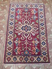 3x4 Thin Finish Hyderabad Hand Knotted Kazak Carpet Area Rug
