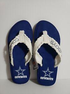 NFL Dallas Cowboys Womens Size Extra Small 5/6 Blue Flip Flops Sandals