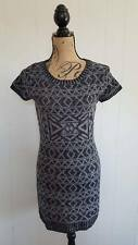 Made For Me to Look Amazing Sweater Dress Black Gray Large Geometric Print S/S
