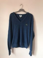 Size M Medium Vintage Retro IZOD LACOSTE Long Sleeve Jumper V Neck Thin Knit