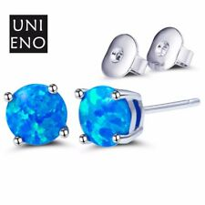 Fashion Jewelry Round Fire Blue Opal Gemstone  White Gold Plated Stud Earrings