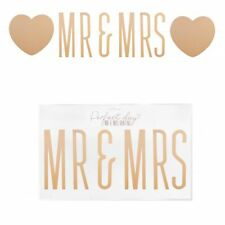 Perfect Day Mr and Mrs Metallic Gold Bunting with Hearts Wedding Anniversary