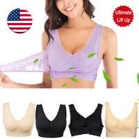 US Lady Sport Bra Front Cross Side Buckle Lace Vest Breathable Lace Yoga Bra HOT