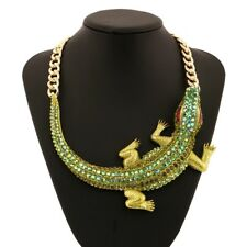 Large Crocodile Rhinestone Choker Necklace - Chunky Maxi