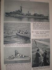 Photo article HMS Daring and Crossbow anti-submarine squid trials 1952 refO50s
