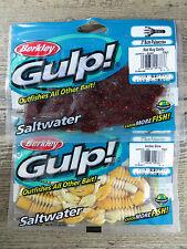 "2 - PACKAGES BERKLEY GULP 3"" PULSECRAW - SALTWATER FISHING BAITS - RBC/AG"
