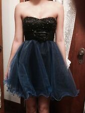 Short Prom dress, size 0, blue and black