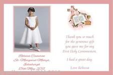 10 Personalised Communion Thank You Cards Girl Photo 3a