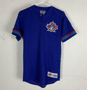 VINTAGE DIAMOND COLLECTION MAJESTIC BLUE JAYS JERSEY ROTARY 7 MADE IN USA SIZE L