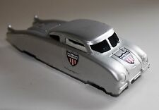 MIDGETOY SILVER STREAMLINE POLICE CAR ALL METAL FUTURISTIC 1940's USA VINTAGE