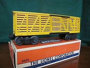 LIONEL O GAUGE # 6656 YELLOW STOCK CAR AND Original Box /OB