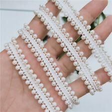 1 yard White Pearl&Bead Lace Edge Trim Ribbon Wedding Applique DIY Sewing Craft