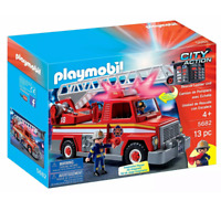 Playmobil CITY ACTION Rescue Ladder Unit FIRE TRUCK #5682 With Lights & Sounds