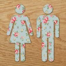 Toilet Door Man & Woman Symbol, Bathroom Wall Door Sign, Shabby Chic Floral Sign