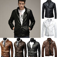 Men PU Leather Jacket Slim Fit Biker Motorcycle Zip Up Retro Coat Outwear Casual
