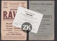 MAURICE RAVEL Concert Hommage JOURDAN-MORHANGE Musique 3 doc. 1940s/50s