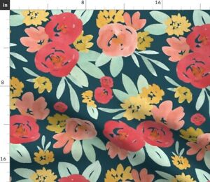Bright Blooms Abstract Red Navy Flowers Spoonflower Fabric by the Yard