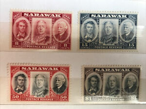 Sarawak 1946 Centenary Issue Stamps, Set Of 4 M/H