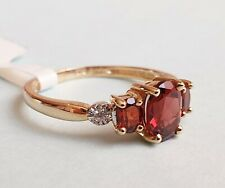 9CT GOLD GARNET AND DIAMOND ACCENT TRILOGY RING Size M