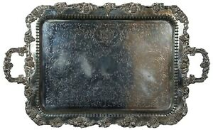 Birmingham English Silver Copper Reticulated Footed Handled Serving Tray Platter
