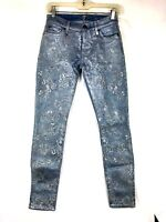 7 For All Mankind Womens Jeans Size 26 Embroidered Floral Skinny Stretch Blue 96