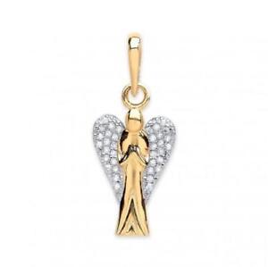 9ct Gold Angel Pendant/Charm -Stone Set Praying Guardian 1.4 grams