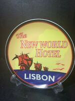"""THE NEW WORLD HOTEL LISBON PLATE 2004  BOSTON W/H 6 1/2"""" ACROSS EXCELLENT"""